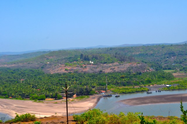 The tiny white Ganapati Temple at a distance