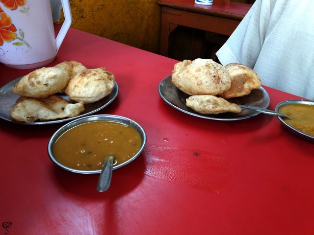 Puri and Dal served