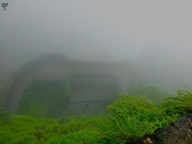 The view of the mist covered fort