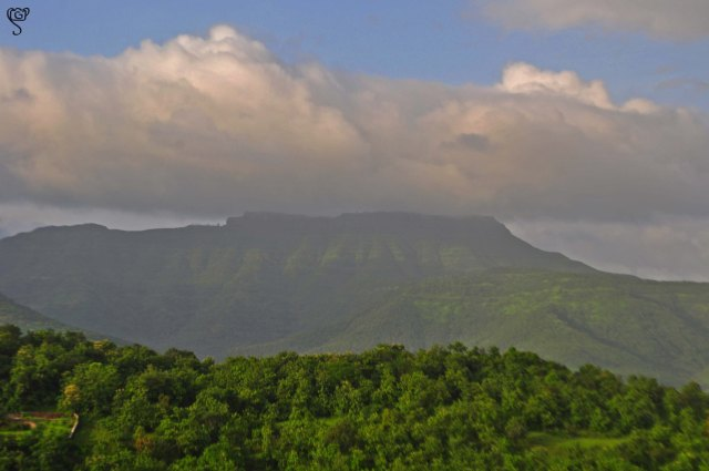 The Sinhagad Fort at a distance on the hill top