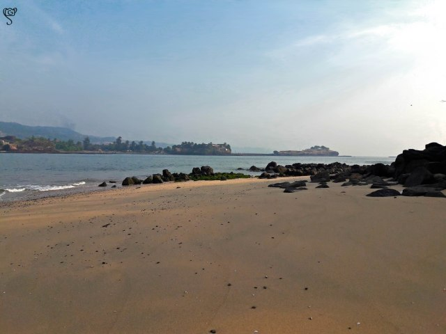 The small patch of sandy shore in the rocky island of Suvarnadurg