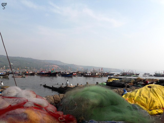 The anchored trawlers by the jetty