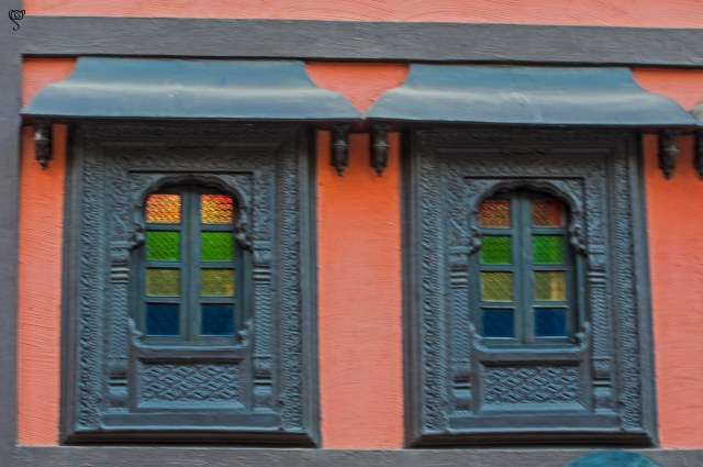 The beautiful glass windows of an ancient building
