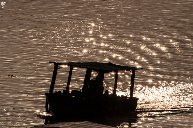A boat in the sparkling waters