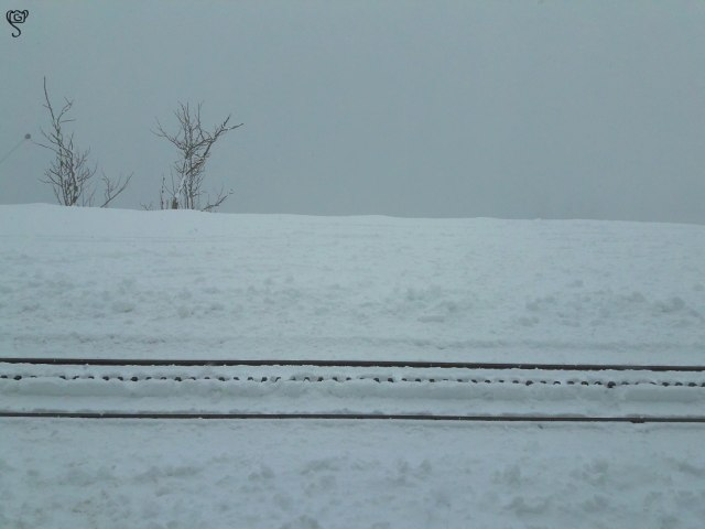 The snow covered railway track