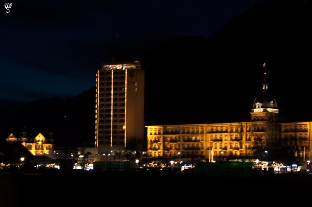 The night view of the beautiful hotel