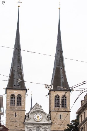 The needle tower of Church of St. Leodegar