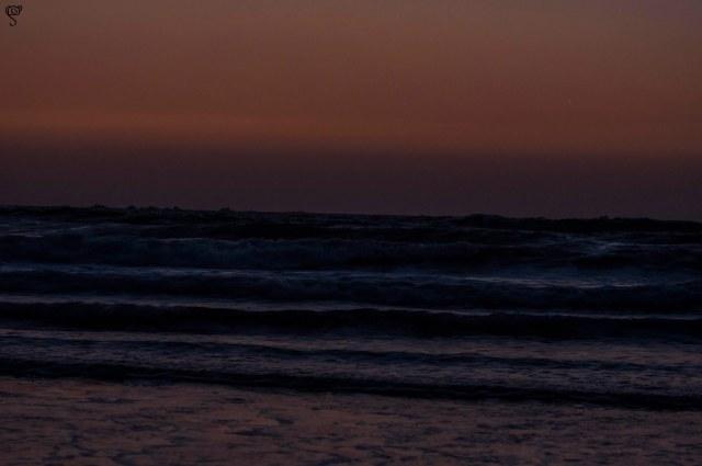 The scene at dusk