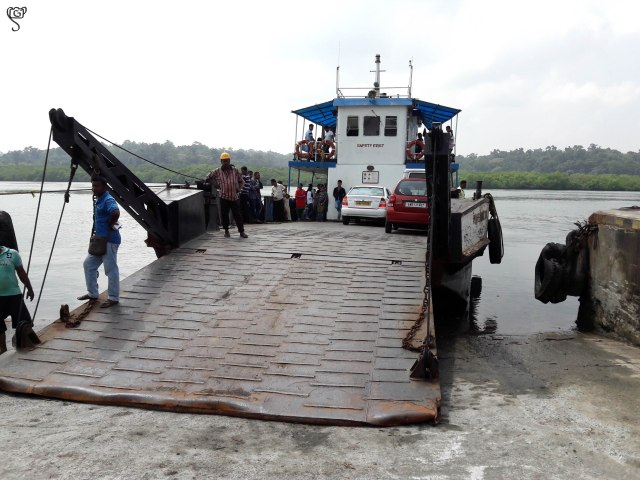 The vessel on the jetty waiting to load vehicles and passengers