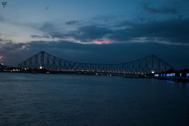 Howrah Bridge at dusk but were not fortunate enough to capture it fully illuminated