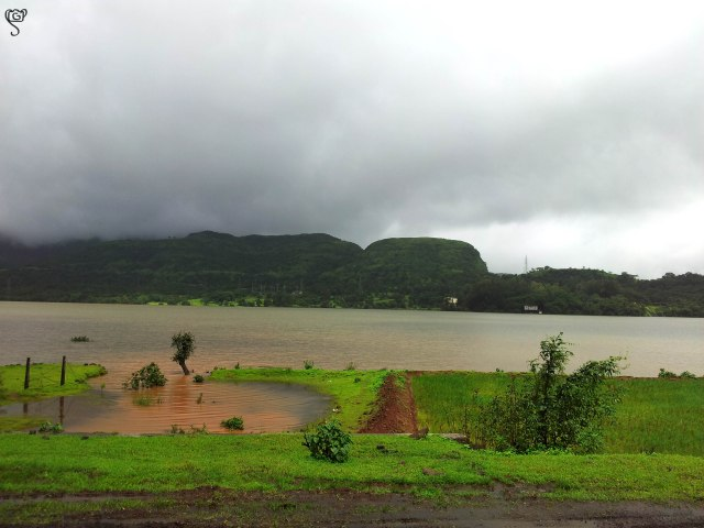 The lake overflowing the banks