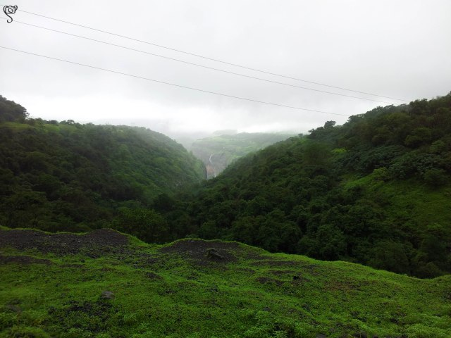 The waterfall at a distance