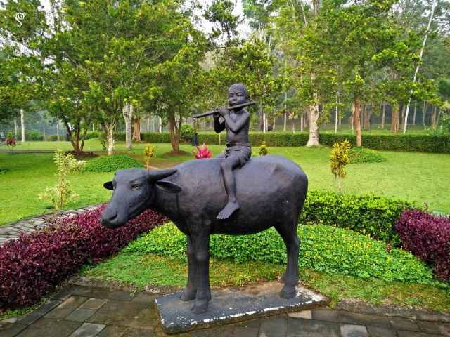 The beautiful manicured lawn and the lovely statue of a Javanese kid