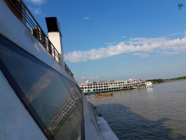 The multi storied steamer taken from the Greenline catamaran
