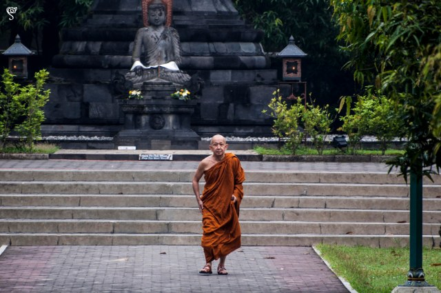 A monk near Mendut temple