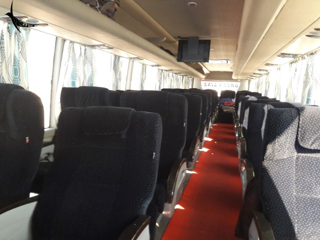 The interior of the GREENLINE bus that we travelled