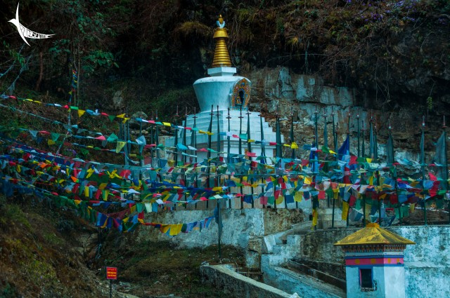 Stupa and prayer flags near the holy water