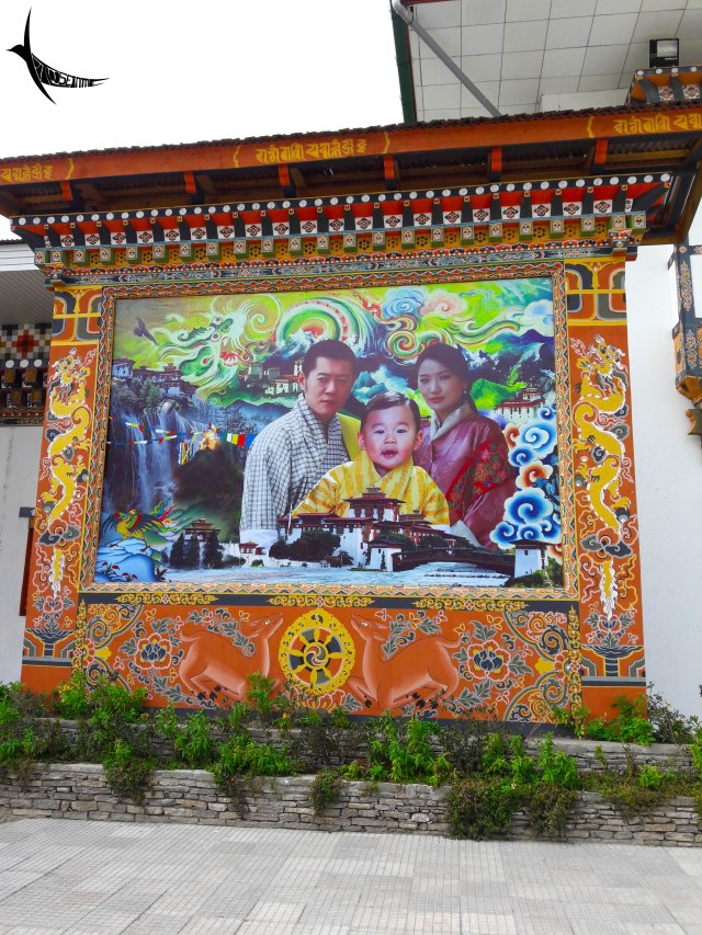 The portrait of the royal family in Paro International Airport