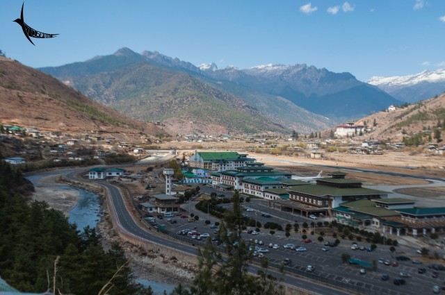 The view of the Paro airport