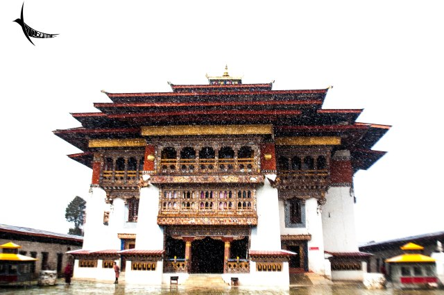The Gangtey monastery during snowfall