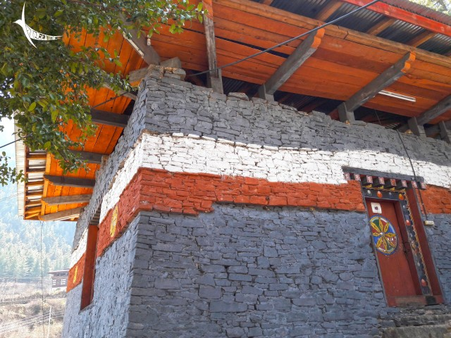 Black walls of the black temple Lhakhang Nagpo