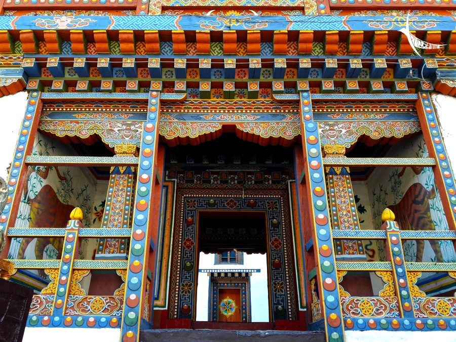 Brightly coloured entrance of the Haa Dzong