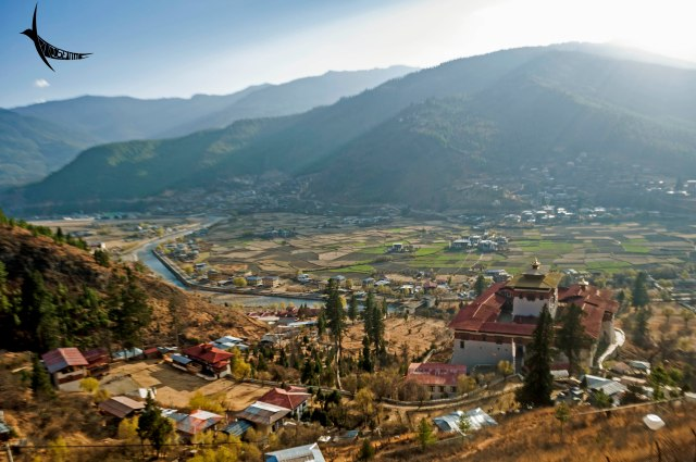 The Paro valley with river and the Dzong