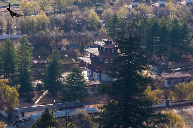 A beautiful building as seen from the Ta Dzong