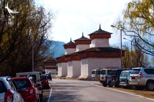 Three stupas in a line beside the archery ground