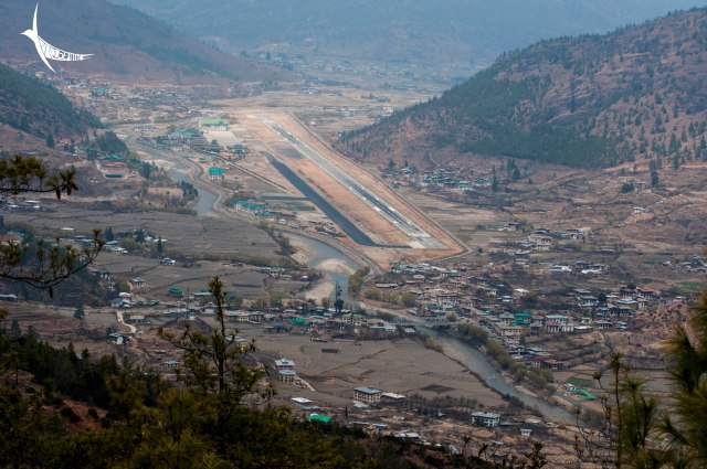 Paro Valley with the river and the airport