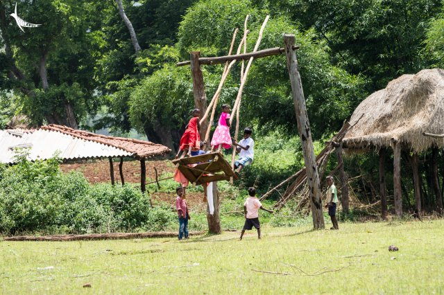 The day of our visit coincided with the last day of Rajoparob so children are seen playing in the large country swing, a probable ritual of this festival