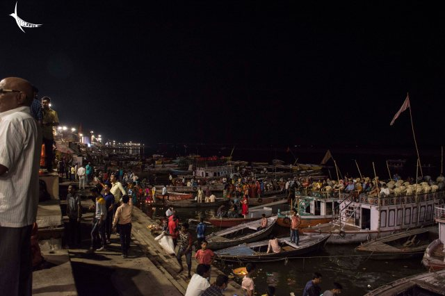Series of boats lined up for the Ganga aarti