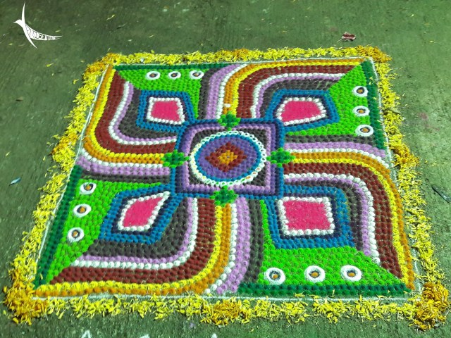 Colourful Rangolis brighten up the courtyards during Diwali