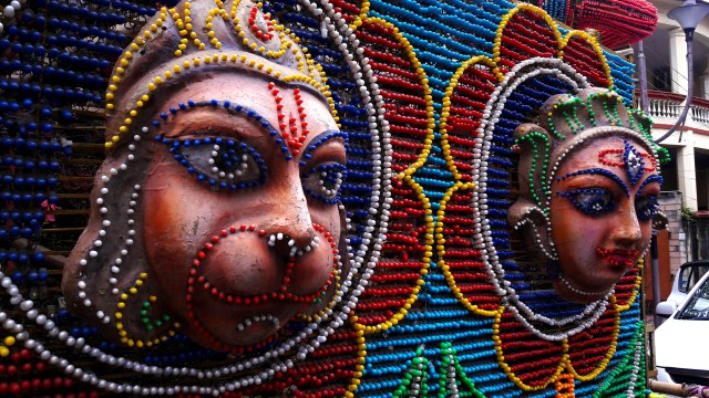 The Monkey God (Lord Hanuman) and the Snake Goddess (Manasha) in the form of lighting