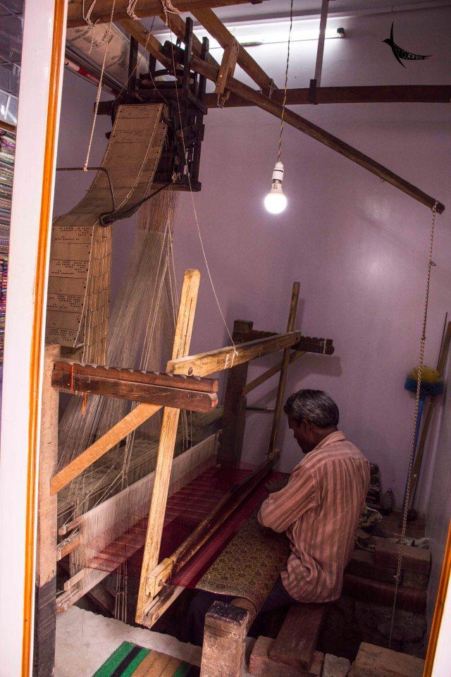 An artisan weaving the traditional Banarasi Silk Saree