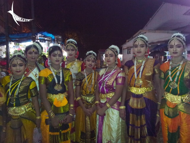 Young girls ready to perform in the temple stage