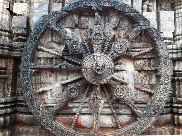 The famous wheels of the chariot of Konarak