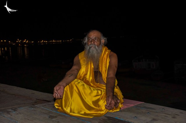 Meditating by the ghats