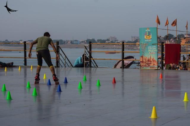 Practicing skating