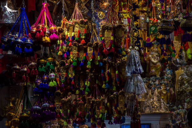 Stalls with glittery souvenirs