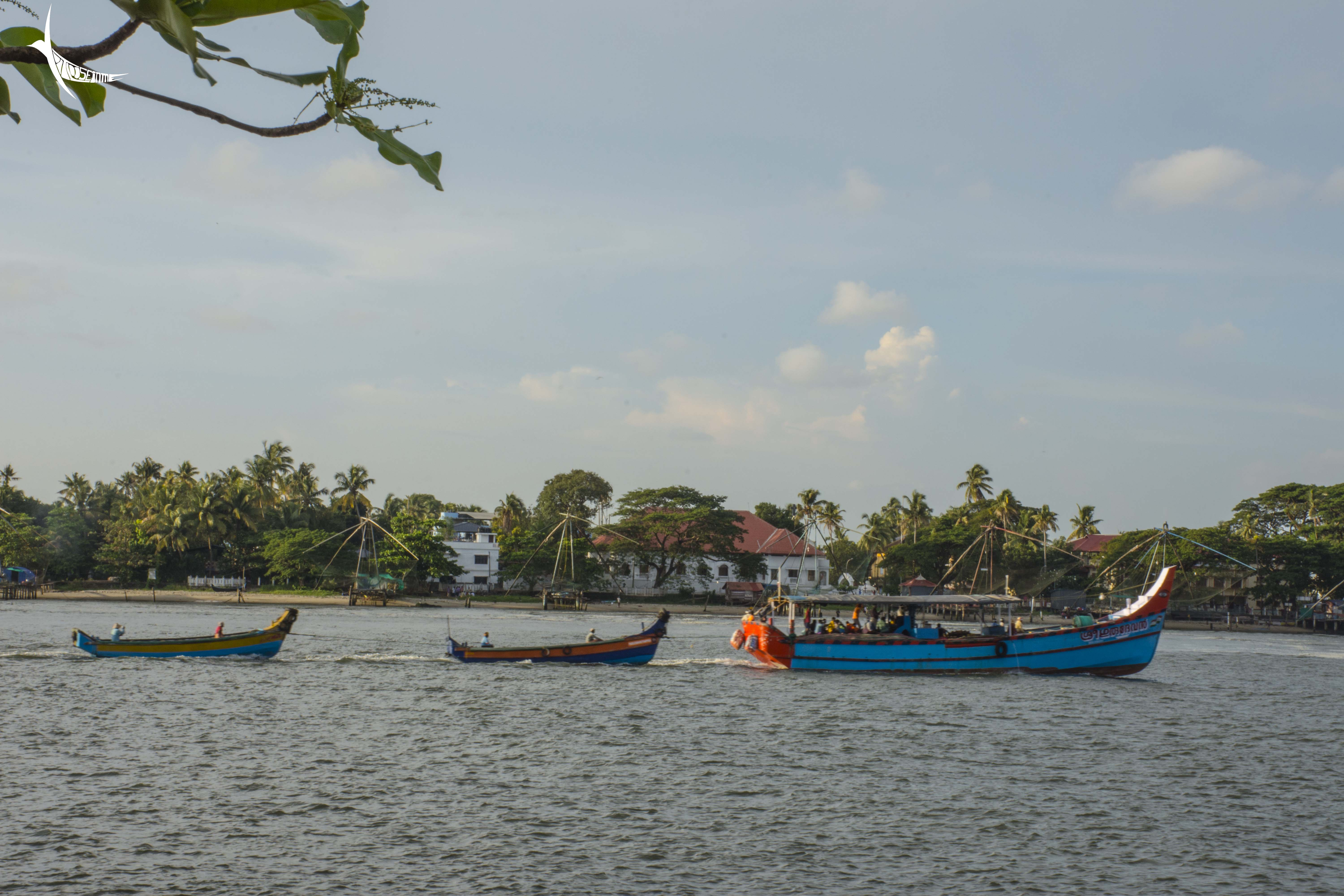 Trail of boats on the backwater