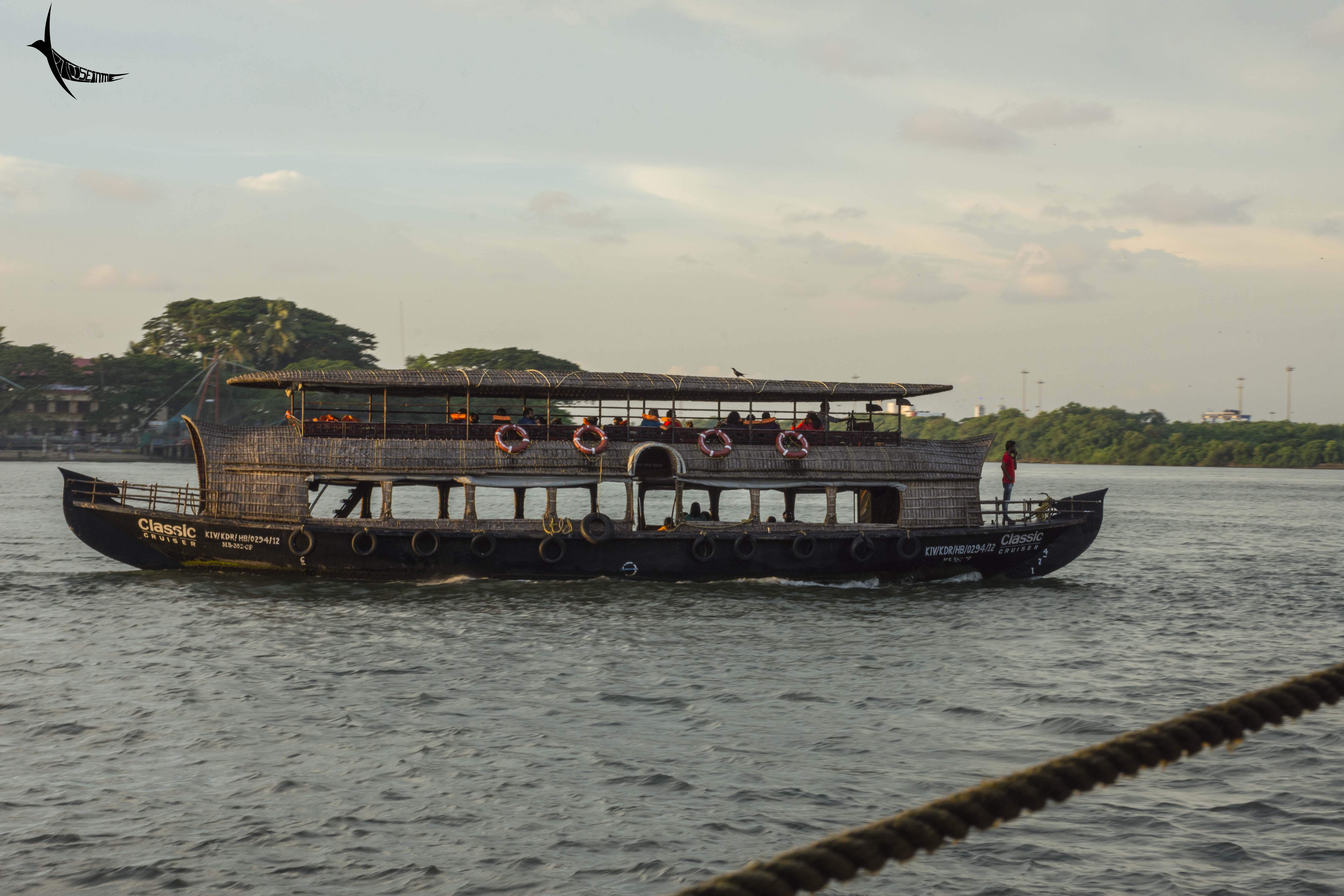 Tourist ferry service in the backwater
