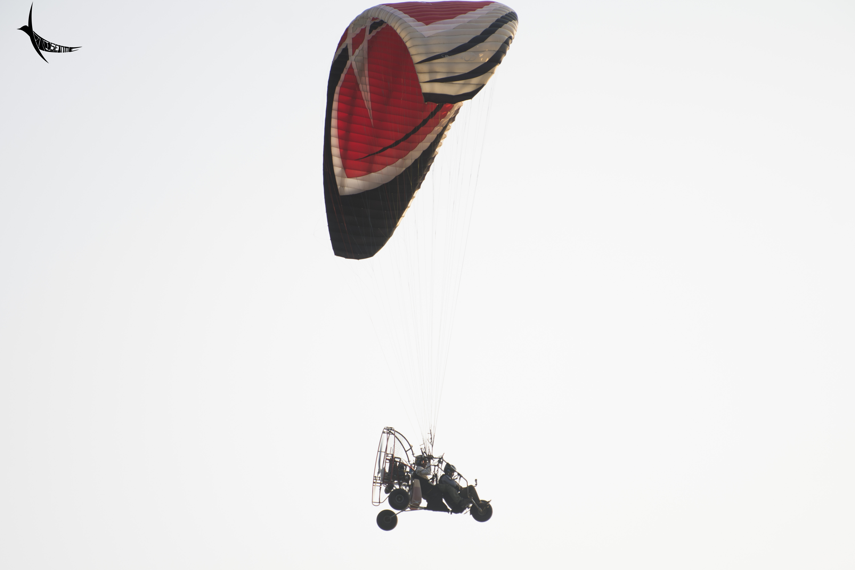 The trike soaring high