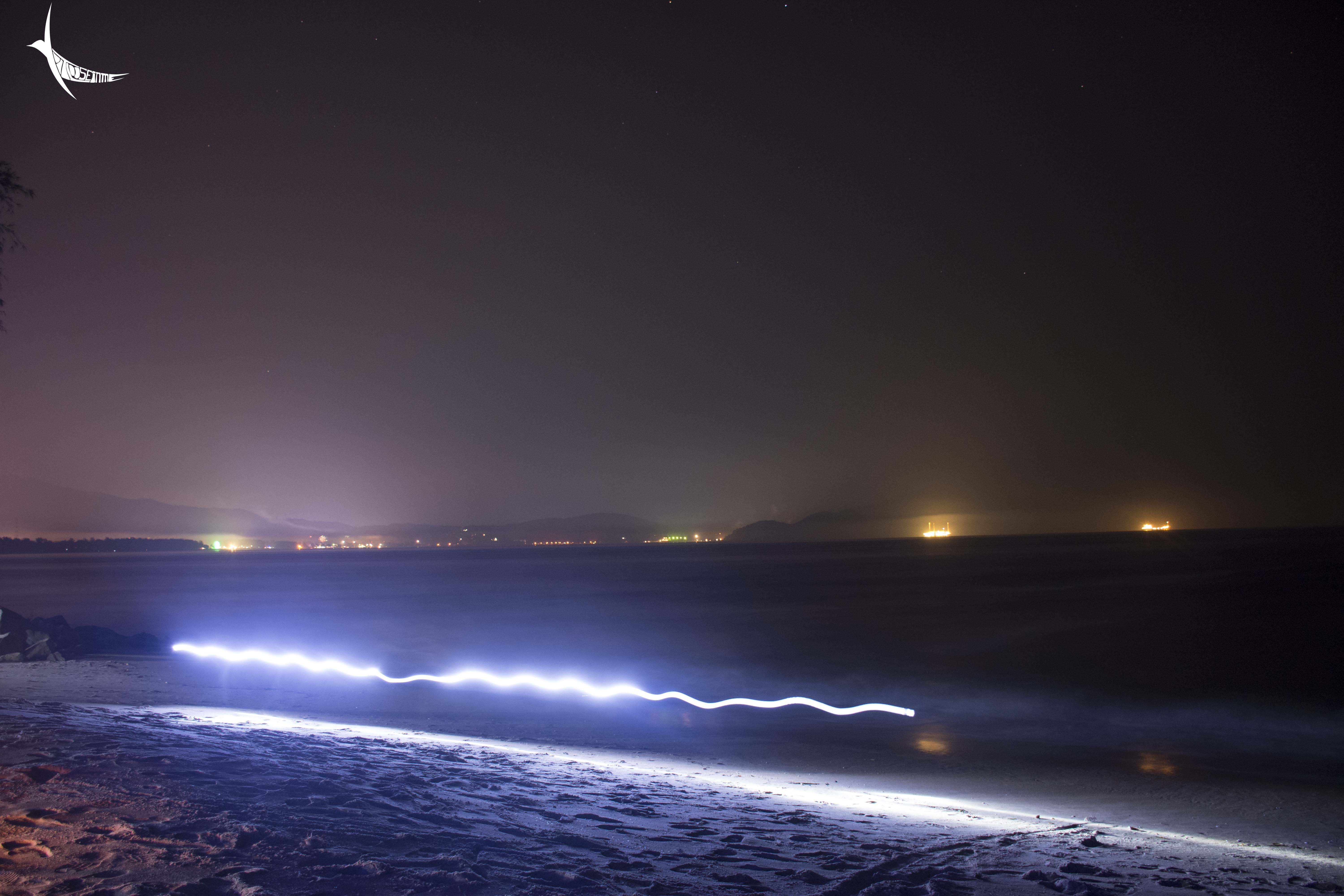 Lights from the Karwar town and the ships and the man who walks with the flash light in hand