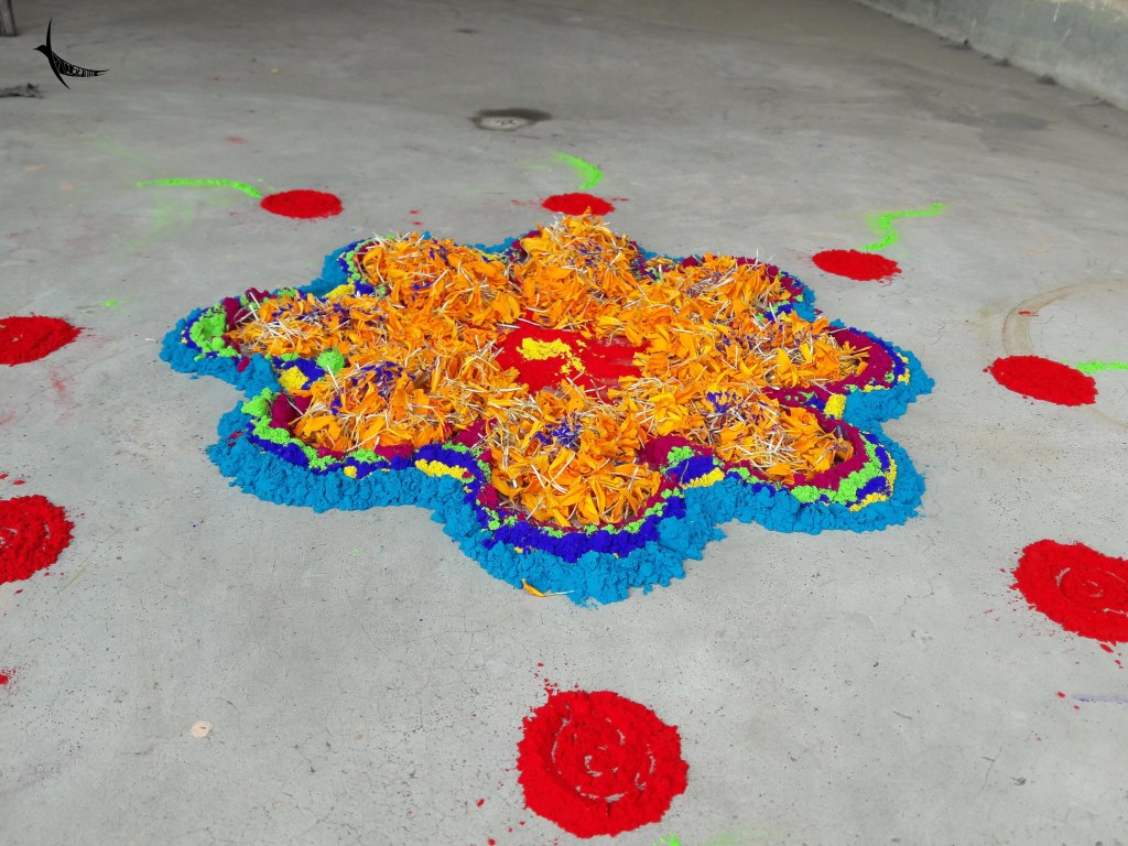 Floral petals are often mixed with the Gulal to play Holi and also to decorate courtyards