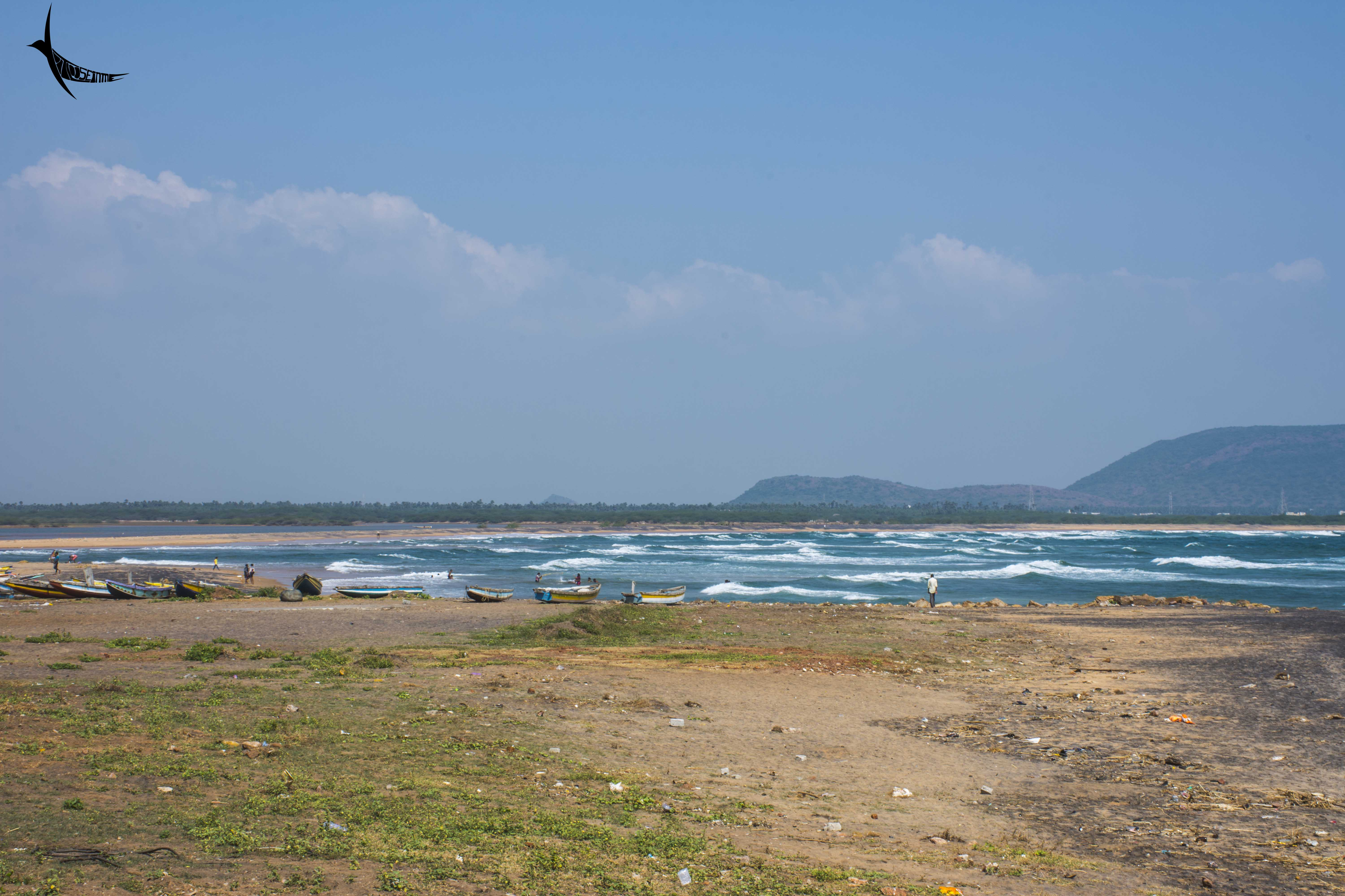 Bheemili beach with the Gosthani river mouth
