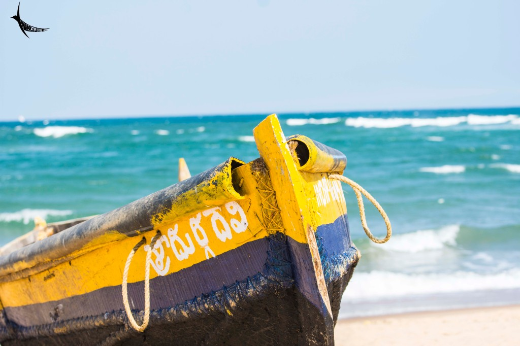 A fishing boat anchored at Rushikonda beach