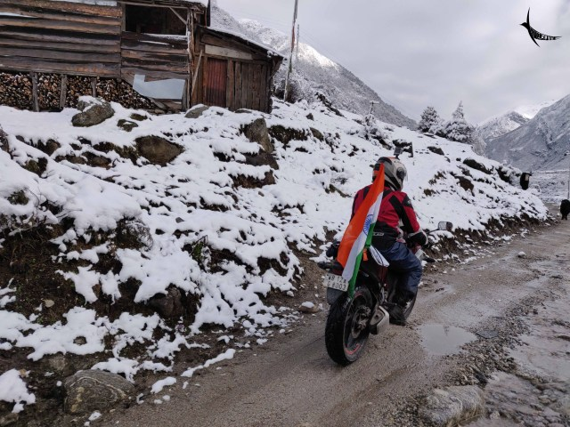 The daring biker on the way to Gurudongmar Lake