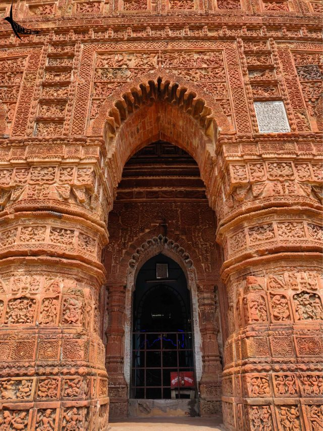 The terracotta tiled Madan Mohan temple, a working temple with the deity inside which is worshipped every day