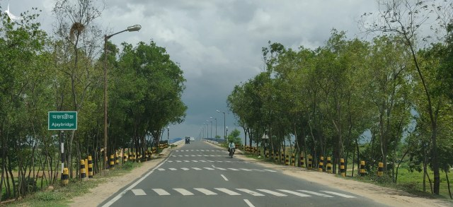 Approaching a bridge over the adjacent Ajay river